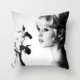 Brigitte Bardot Portrait Retro Vintage Black and white Retro Silk Poster Throw Pillow