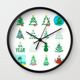 Modern Christmas tree. Abstract Christmas set Wall Clock