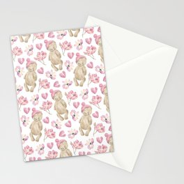 bears, hearts and flowers Stationery Cards