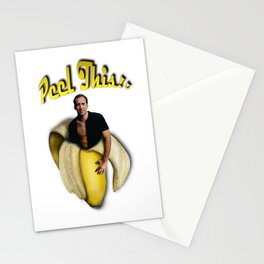 Nicolas Cage in a peeled banana Stationery Cards