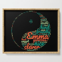 Name gift for Emma qualities Ying and Yang symbol Serving Tray