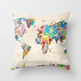 world map music art Throw Pillow