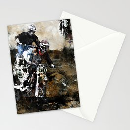 """Dare to Race"" Motocross Dirt-Bike Racers Stationery Cards"