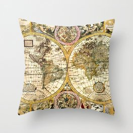 Gorgeous Old World Map Art from 15th Century Throw Pillow