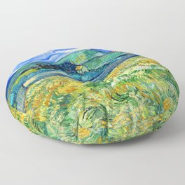 Van Gogh Mountain Meadow Landscape Painting Print Floor Pillow