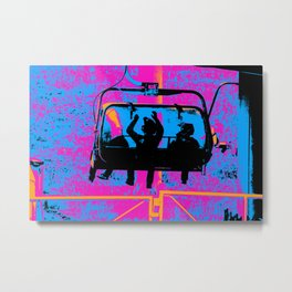 Mountain Bikers Ride - Gondola Metal Print
