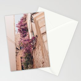 Italy travel / pretty city / in wonderfull Limone / colorful houses with flowers Stationery Cards
