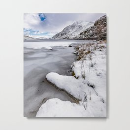 Snowfall at Ogwen Lake Snowdonia Metal Print