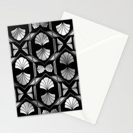 Cafe In Marseille Black & Silver Art Deco Pattern Stationery Cards