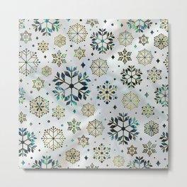 Festive Golden Abalone Shell Snowflake pattern Metal Print