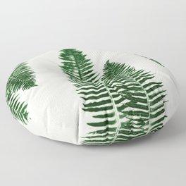 Green Vintage Forest Ferns Floor Pillow