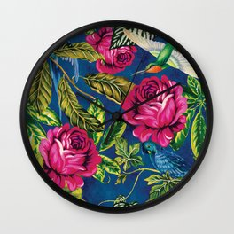 Parrots in the Jungle - Flowers and Birds on Blue Wall Decor Gift Idea Wall Clock