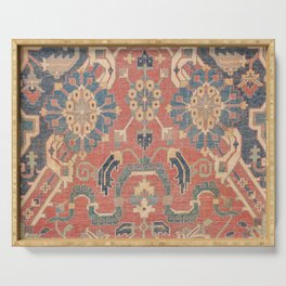Geometric Leaves V // 18th Century Distressed Red Blue Green Colorful Ornate Accent Rug Pattern Serving Tray