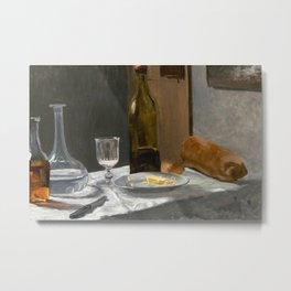 Claude Monet - Still Life with Bottle, Carafe, Bread, and Wine Metal Print