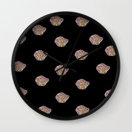 Icy Bear ornamental abstract design on a black background Wall Clock