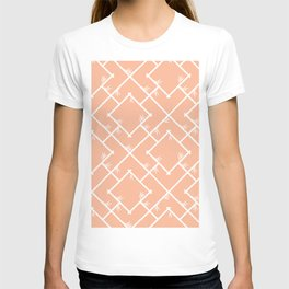 Bamboo Chinoiserie Lattice in Peach + White T-shirt