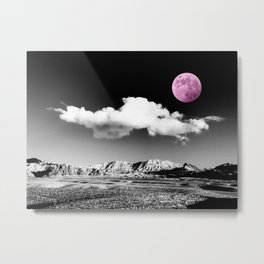 Black Desert Sky & Fuchsia Moon // Red Rock Canyon Las Vegas Mojave Lune Celestial Mountain Range Metal Print