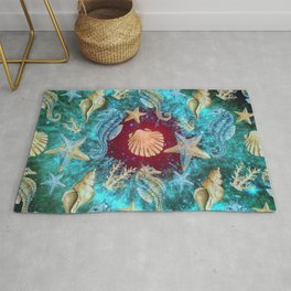 Crustacean And Red Waves Space Rug