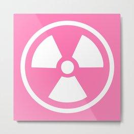 Pink Radioactive Symbol Metal Print