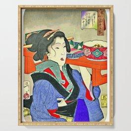 Japanese Art Geisha Girl with Kimono Serving Tray