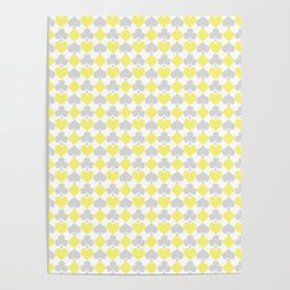 Playing Cards Pattern Grey Yellow on White Poster