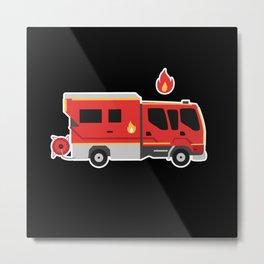 Firetruck for kids lovely cartoon firefighter Metal Print