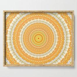 Marigold Orange Mandala Design Serving Tray