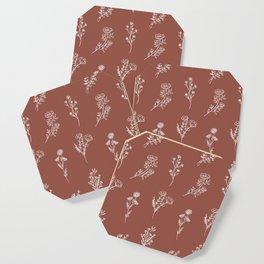 Botanical Wildflowers Line Art Coaster