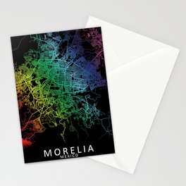 Morelia, Michoacán, Mexico, City, Map, Rainbow, Map, Art, Print Stationery Cards