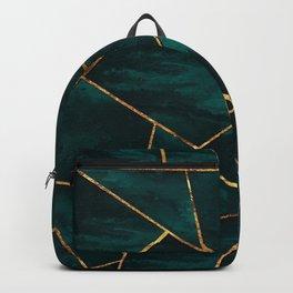 Dark Teal Ink Copper Gold Geometric Glam #1 #geo #decor #art #society6 Backpack