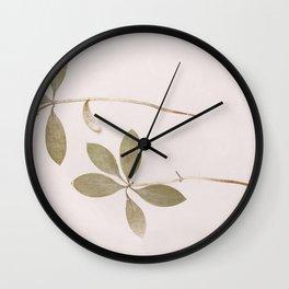 Green Botanical Leaf Wall Clock