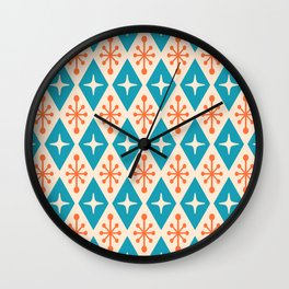 Mid Century Modern Atomic Triangle Pattern 922 Turquoise and Orange Wall Clock