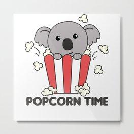 Koala Popcorn Time Sweet Animals Popcorn Bag Metal Print