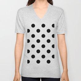Polkadot (Black & White Pattern) Unisex V-Neck