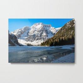 Snow Lake Mountain Landscape Metal Print