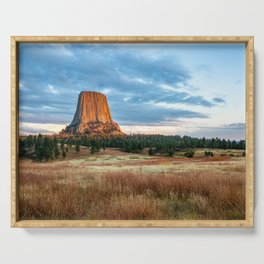 Devils Tower - Giant Monolith Drenched in Sunlight on Autumn Day in Wyoming Serving Tray