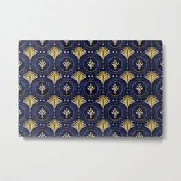 Art Deco Blue And Gold Luxury Metal Print