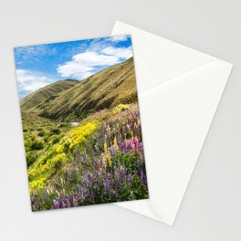 Lupines fields on the side of the road in New Zealand Stationery Cards
