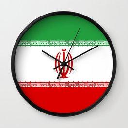 flag of iran- Persia, Iranian,persian, Tehran,Mashhad,Zoroaster. Wall Clock