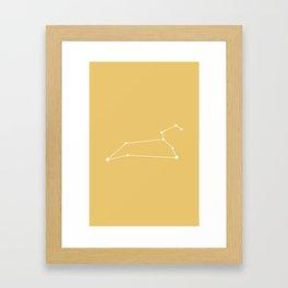 Leo Zodiac Constellation - Golden Yellow Framed Art Print