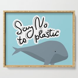 Say no to plastic. Whale, sea, ocean.  Pollution problem concept Eco, ecology banner poster. Serving Tray