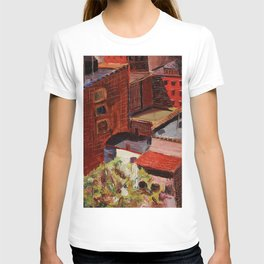Classical African American Landscape 'Over the Harlem Rooftops' by Malvin Gray Johnson T-shirt