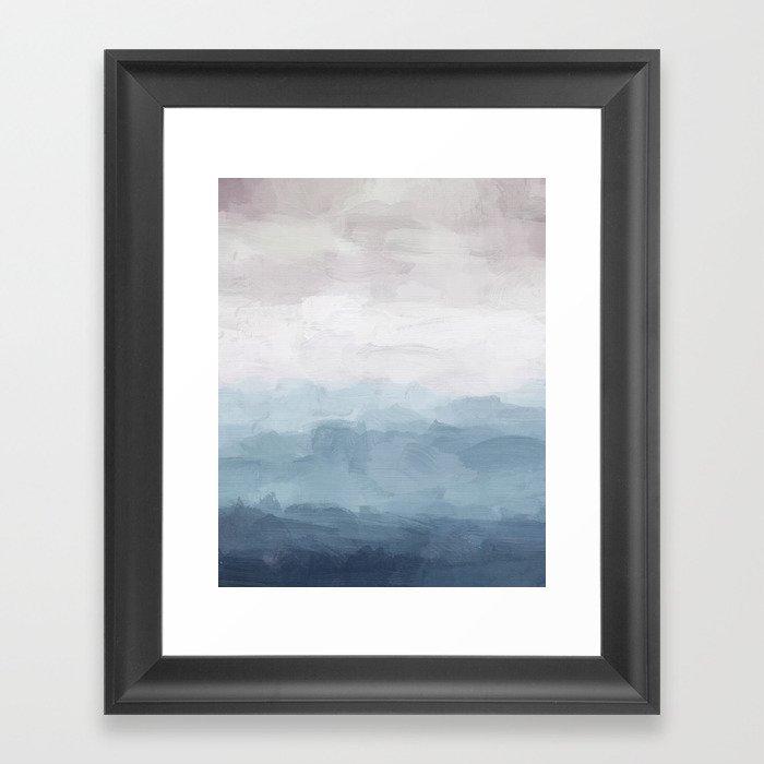 White, Mauve, Navy Soft Blue Print Modern Wall Art, Printable Abstract Painting, Ocean Clouds Misty Gerahmter Kunstdruck