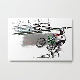 Making a Stand - Freestyle Motocross Rider Metal Print