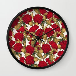 Red Roses on White : Vintage Pattern Series Wall Clock