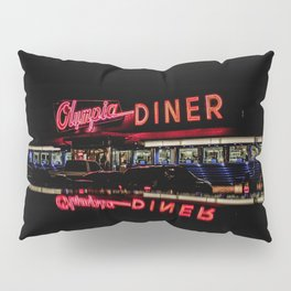 Olympia Diner Newington Connecticut Vintage Neon Stainless Steel Diner  Pillow Sham
