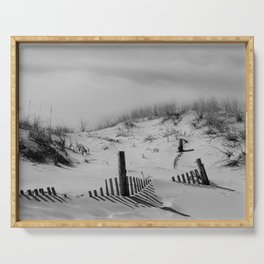 Buried Fences Black and White Coastal Landscape Photo Serving Tray