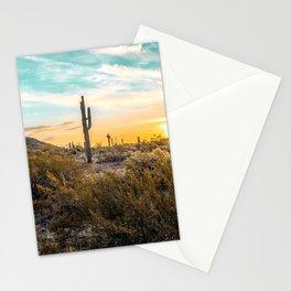 Desert Sunrise // Saguaro Cactus Summer Sun Arizona Nature Landscape Teal Blue Green Sky Stationery Cards