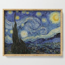 The Starry Night by Vincent van Gogh 1889 // Abstract Brush Stroke Detail Mountains Stars City Scene Serving Tray