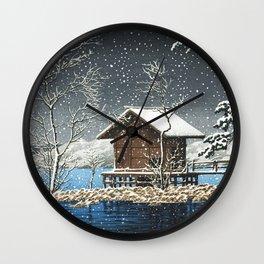 Kawase Hasui - Kansa Gu Shrine At Lake Tazawa - Vintage Japanese Woodblock Print Wall Clock